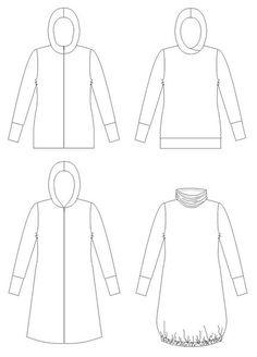"""Naisten huppari-takkikaava, mallit Päivi ja PäivikkiKaavassa eri versioita huppariin, tunikaan ja takkiin. Sisältää kaksi eri vaihtoehtoa """"vaatteen runkoon"""" ja kolme erilaista huppua + ohjeet korkeaa kaulukseen.  Arkilla koot 32 – 52   Kaavat vain yksityiskäyttöön! Kopiointi ja jako kielletty"""