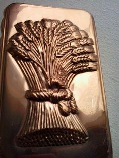 Vintage copper cake, bread mould or pan, wheat sheaf design kitchen decor