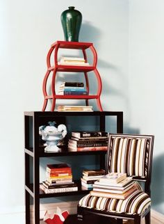 In the library of Ivanka Trump's Park Avenue apartment in New York, a vase and an étagère from Todd Alexander Romano sit atop a bookcase.