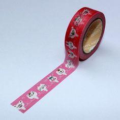 Washi Tape rosa con animalitos blancos