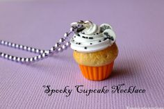 Spooky Cupcake NecklaceHalloween by KawaiiCuteCreation on Etsy, $13.95