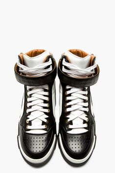 163f1ad13d80 GIVENCHY    BLACK   WHITE LEATHER TYSON HIGH-TOP SNEAKERS