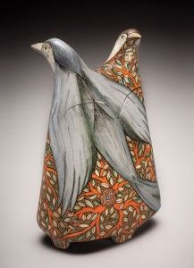 Terri Kern A Dream of You, 6½ in. (17 cm) in height, carved lidded vessel with hand-painted underglazes and clear glaze.