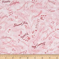 Kanvas Tiny Dancer Ballet Words Pink from @fabricdotcom  Designed by Maria Kalinowski for Kanvas in association with Benartex, this cotton print fabric is perfect for quilting, apparel and home decor accents. Colors include shades of pink.