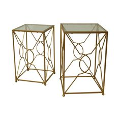 Mayfair+Nesting+Tables: Modern+gold+nesting+tables+with+a+glass+surface.