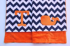 Whale Baby Blanket Nautical Whale Chevron by mylittlemookie