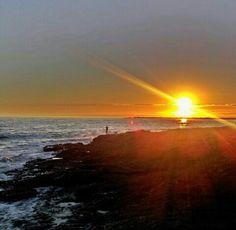 Sea, sunset, rocks, silhouette, beautiful places