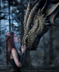 Anne Stokes well known for her stunning fantasy artwork. Based in Leeds, Yorkshire, Anne Stokes is married with a young son. 3d Fantasy, Fantasy Kunst, Fantasy Artwork, Fantasy World, Fantasy Art Women, Fantasy Posters, Gothic Fantasy Art, Fantasy Gifts, Medieval Fantasy
