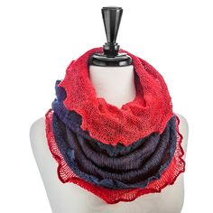 Mohair Infinity Scarf-Navy/Red - Occasionally Made - Classic Gifts with a Trendy Twist!