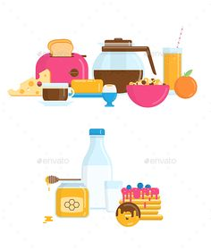 Download Free Graphicriver 	             Healthy Breakfast in Flat Style            #beverage #bread #breakfast #butter #cheese #coffee #cup #design #dessert #drink #egg #flat #food #fresh #fruit #healthy #illustration #ingredient #juice #menu #milk #morning #object #orange #pancake #pastry #set #sweet #toast #vector