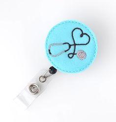 I Love Nursing Stethoscope  Felt Badge Holder Nurse Gifts Cute Badge Reels by BadgeBlooms, $7.00