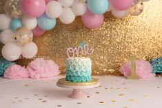 pink blue and gold first birthday colors for cake smash photos Photography Set Up, Cake Smash Photography, Birth Photography, Baby Girl First Birthday, First Birthday Photos, Smash Cake Girl, Cake Smash Photos, Gold Balloons, Teal And Gold
