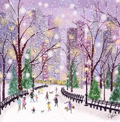 New York Christmas, Christmas Love, Christmas Illustration, Cute Illustration, Winter Pictures, Art Pictures, Winter Light, Marquise, Cute Art