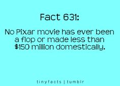 Can my life be a pixar movie, so could get some of that 150 million? Disney Love, Disney Magic, Disney Pixar, The More You Know, Good To Know, Disney Fun Facts, Disney Trivia, Entertainment Jobs, Pixar Movies