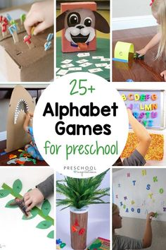 The best way to learn is through play!! Here's a great list of lots of hands-on ways to learn the alphabet. ABC games and alphabet activities are a great way to work on letter recognition, matching lowercase to uppercase letters, phonics, and more! Teaching Abcs, Preschool Writing, Teaching The Alphabet, Preschool Crafts, Abc Learning, Kid Crafts, Educational Activities For Kids, Alphabet Activities, Kindergarten Activities