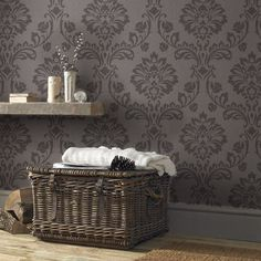 Aurora Wallpaper in Chocolate from the Midas Collection by Graham & Brown