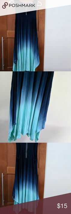 Blue ombre cover-up dress Dark to light blue dress that zips up the back. Asymmetrical hem and wide arm openings. Soft, stretchy jersey material. Great for a swim cover-up or to wear with a cute bra. St. Tropez Dresses Asymmetrical