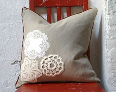 Doily pillow-great idea if I could sew!
