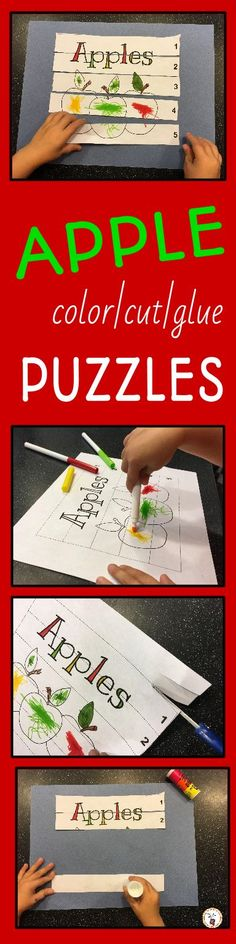 Apple Color, Cut and Glue Puzzles Preschool Open Houses, Preschool Puzzles, Preschool Class, Preschool Ideas, Kindergarten Homeschool Curriculum, Kindergarten Math, Apple Picture, Apple Unit, Autumn Activities