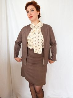 60s 3 Piece Suit Womans Polly Peck Linen Skirt by MoonWalkVintage, £62.00