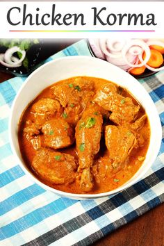 Chicken korma is a delicious indian dish made with chicken, yogurt & spices. Tastes great with rice, naan, paratha recipes indian Chicken Korma Indian Chicken Recipes, Veg Recipes, Curry Recipes, Indian Food Recipes, Vegetarian Recipes, Cooking Recipes, Indian Foods, Indian Breads, North Indian Chicken Curry Recipe