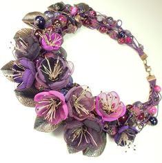 Buy Blackberry Blues. Necklace made of natural stone, fabric flowers - necklace, handmade