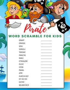 If your little pirates are looking for a new adventure, be sure to check out this fun pirate word search and pirate word scramble for kids