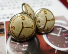 $6 Clock Pattern Wooden Buttons.With metal base. 0.43 inch. 12 pcs in a set