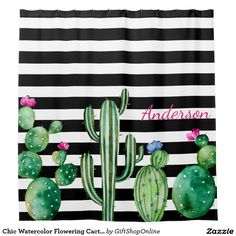 Chic Watercolor Flowering Cactus Personalized Shower Curtain