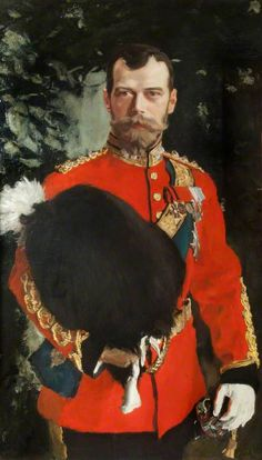 His Imperial Majesty Nicholas II, Emperor of Russia, by Anton Aleksandrovich Serov, presented as a personal gift from the Tsar to the Royal Scots Greys as their Colonel. Painted in 1902, oil on canvas, 115 x 88 cm. The Emperor is depicted in full dress uniform as Colonel-in-Chief of the 2nd Dragoons (Royal Scots Greys). The last Tsar was the Colonel-in-Chief of the Royal Scots Greys from 1894 until 1918. Housed at The Royal Scots Dragoon Guards Museum, The Castle, Edinburgh, Scotland