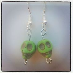 Green Skull Earrings. $5 Aust. From Rags To Bags on FaceBook.
