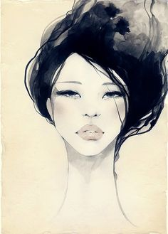 with soft colors. woman. black hair. lips. watery.