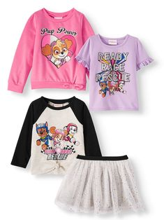 Paw Patrol Outfit, Paw Patrol Shirt, Boys Puffer Jacket, Mix And Match Fashion, Ruffle Shorts, Outfit Sets, Toddler Girl, Long Sleeve Tops, Kids Outfits