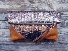 love the leather + sequin on this scout and catalogue clutch