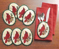 Cardinal Christmas Silverware Holders