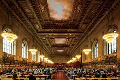 New York CityThe heart of the library is the Rose Main Reading Room, a cavernous volume that stretches nearly two city blocks long beneath 52-foot-high ceilings. Abundant natural light streams in through windows and ceiling murals depict the sky, making the space feel almost as inviting as sitting outside. Despite the room's formal feel, it's equally popular with studious readers and casual visitors in search of Wi-Fi.