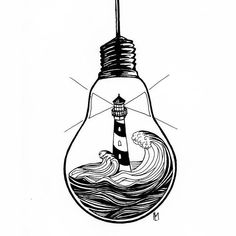 Like the candle drawing, the light house provides light for boats. Putting a light house into a light bulb is a super neat idea of a drawing. Art Sketches, Art Drawings, Pen Art, Doodle Art, Art Inspo, Amazing Art, Awesome, Tattoo Designs, Illustration Art