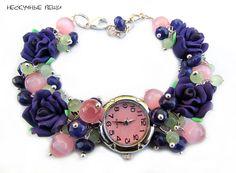 """Купить Часы """"Фиолетовые розы"""" - часы, часы наручные, женские часы, подарок женщине"""