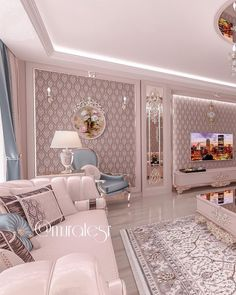 Image may contain: bedroom and indoor Living Room Sofa Design, Living Room Color Schemes, Home Room Design, Living Room Designs, Living Room Decor, Pastel Living Room, Luxury Homes Interior, Small Room Bedroom, Apartment Design