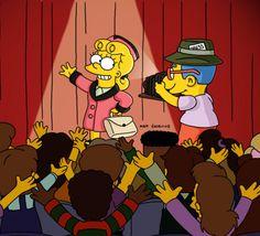 """Mais um momento #Paródia Musical. Dessa vez, Os Simpsons montaram um episódio para homenagear o musical """"Evita"""", chamado """"The President wore pearls"""" (A presidente usava pérolas). No Brasil, o mesmo episódio foi nomeado como """"Presidente por Acidente"""". Depois de muito fuçar na internet eu consegui encontrar esta divertida homenagem em português. Como nem tudo vem fácil na internet, para assistir o episódio é preciso ter uma conta no 4shared, onde é possível também baixá-lo."""