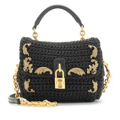 mytheresa.com - Dolce & Gabbana - MINI FLAP-OVER SHOULDER BAG WITH EMBELLISHMENT - Luxury Fashion for Women / Designer clothing, shoes, bags