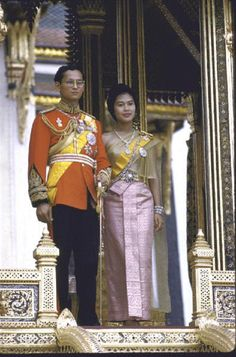 Thailand's King Bhumibol Adulyadej (aka Phumiphon Aduldet) with wife, Queen Sirikit at the Palace in the 1960's