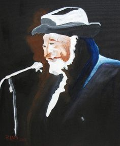 "RENO® - in the portraiture series, ""Raymond Lévesque"", a Quebec author, composer and singer (retired), acrylics on canvas, 16"" x 20"", framed, Gatineau, Qc. Cdn. (2012) - unavailable; offered to worthwhile agency -  ©"