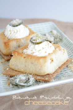We love these bite-sized Banana Cream Cheesecakes from @doughmesstic at doughmesstic.com.