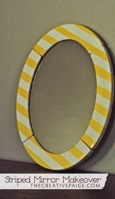DIY Striped Mirror