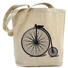 Canvas tote bag - Recycled Tote bag .Antique Big Wheel Bicycle ❤ liked on Polyvore