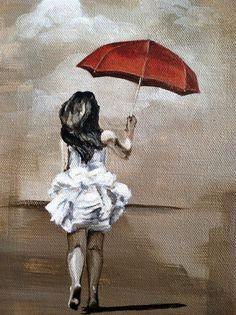 16x8 Acrylic Paint on Canvas - Girl with Umbrella