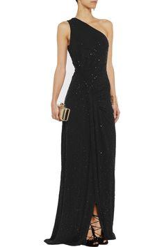 Michael KorsOne-shoulder embellished stretch-crepe gown