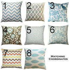 Blue Pillow Case- Premier Prints Village Blue Large Size Pillow Cover- Zippered Pillow- You Choose- Spa Blue Cushion Cover- Euro Sham