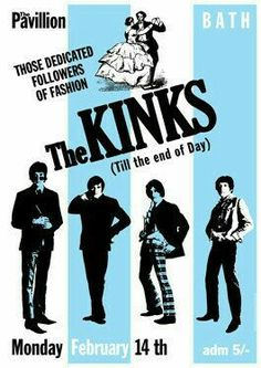 concert tour poster 💕🎵🎶❤♥ THE KINKS - 14 February 1966 Bath The Pavillion - artistic concert poster Tour Posters, Band Posters, Music Posters, Vintage Concert Posters, Vintage Posters, Pop Rock, Rock N Roll, Radios, It's All Happening